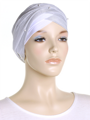 White Shimmer Turban Wrap Hat