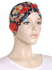 Black Floral Turban Hat