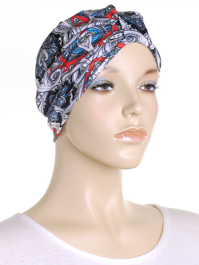 Black Paisley Turban Hat