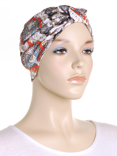 Brown Paisley Turban Hat