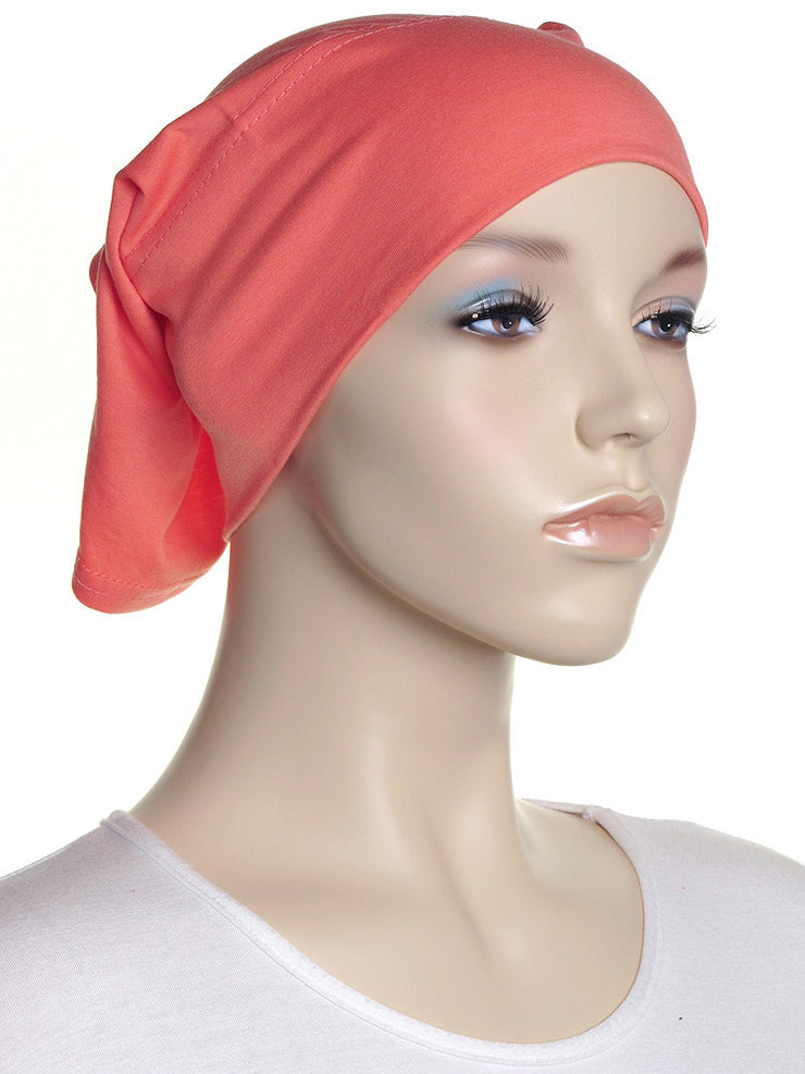 Light Coral Plain Cotton Tube Underscarf - Hijab Store Online
