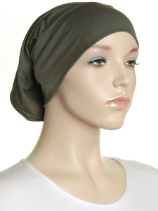 Olive Plain Cotton Tube Underscarf