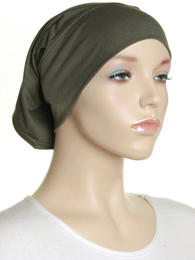 Olive Plain Cotton Tube Underscarf - Hijab Store Online
