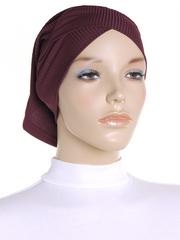 Burgundy Criss Cross Ribbed Underscarf