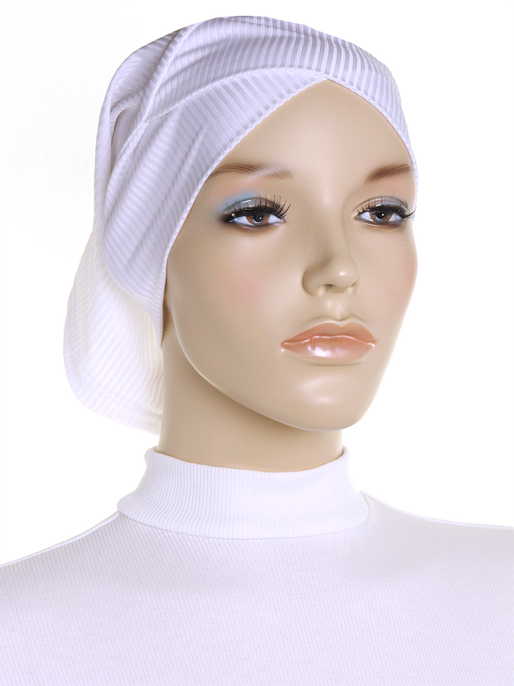 White Criss Cross Ribbed Underscarf