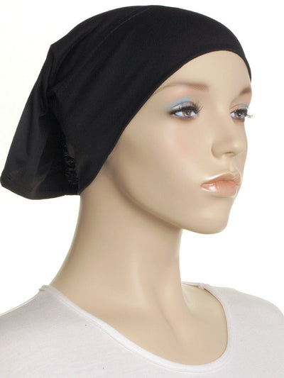 Black Plain Cotton Tube Underscarf - Hijab Store Online