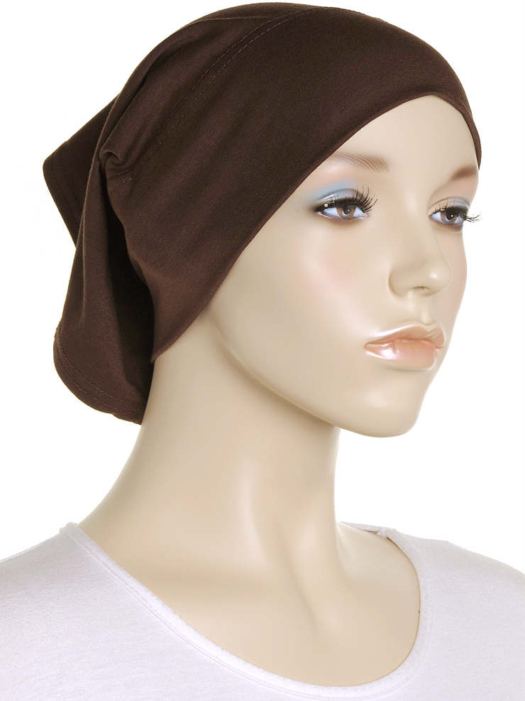 Dark Chocolate Plain Cotton Tube Underscarf - Hijab Store Online