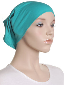 Teal Plain Cotton Tube Underscarf
