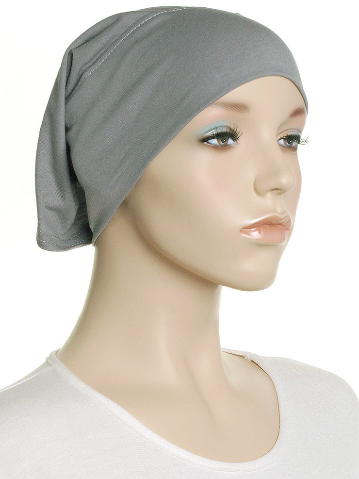 Silver Grey Plain Cotton Tube Underscarf - Hijab Store Online