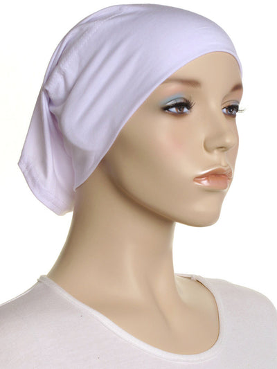 White Plain Cotton Tube Underscarf - Hijab Store Online