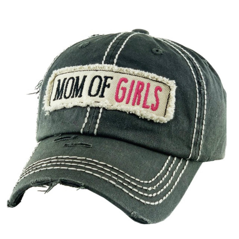 Mom of Girls Washed Vintage Distressed Baseball Cap Black