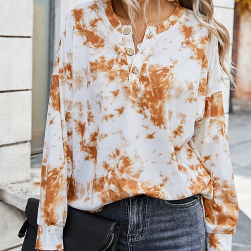 Tie Dye Notched Neckline Long Sleeve Top Camel