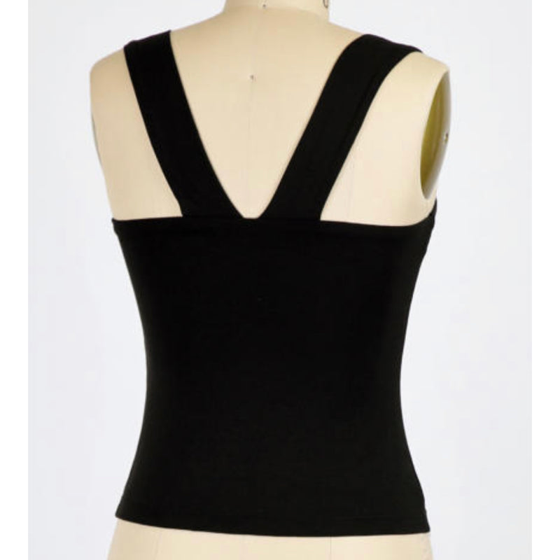 The Best Square Neck Tank With Wide Straps Black
