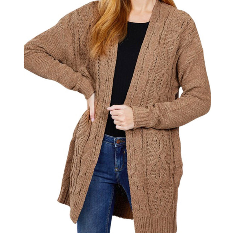 Cozy Chenille Cardigan Brown
