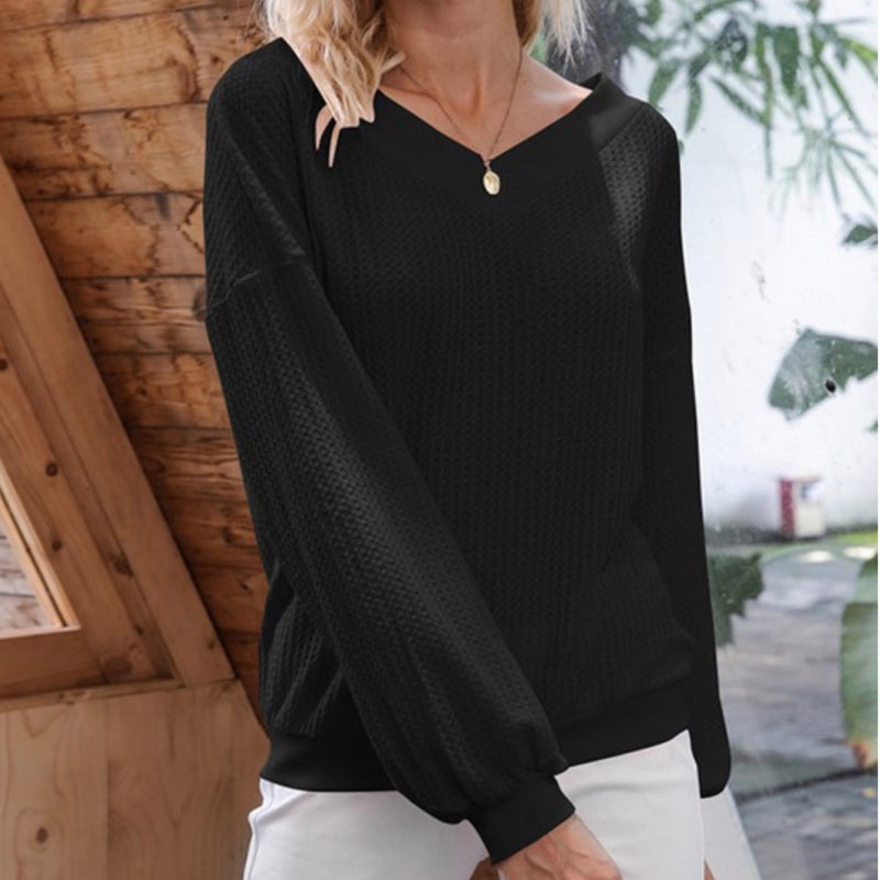 Kaylee V Neck Knitted Top Black