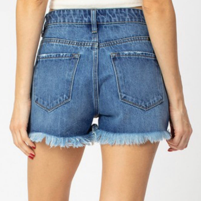 KC7259M Ripped Front Cut Off Denim Shorts