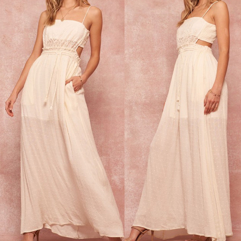 Lace and Swiss Dot Side-Slit Cami Maxi Dress White