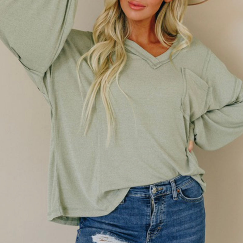 V-neck Lantern Sleeve Knit Long Sleeve Top Olive