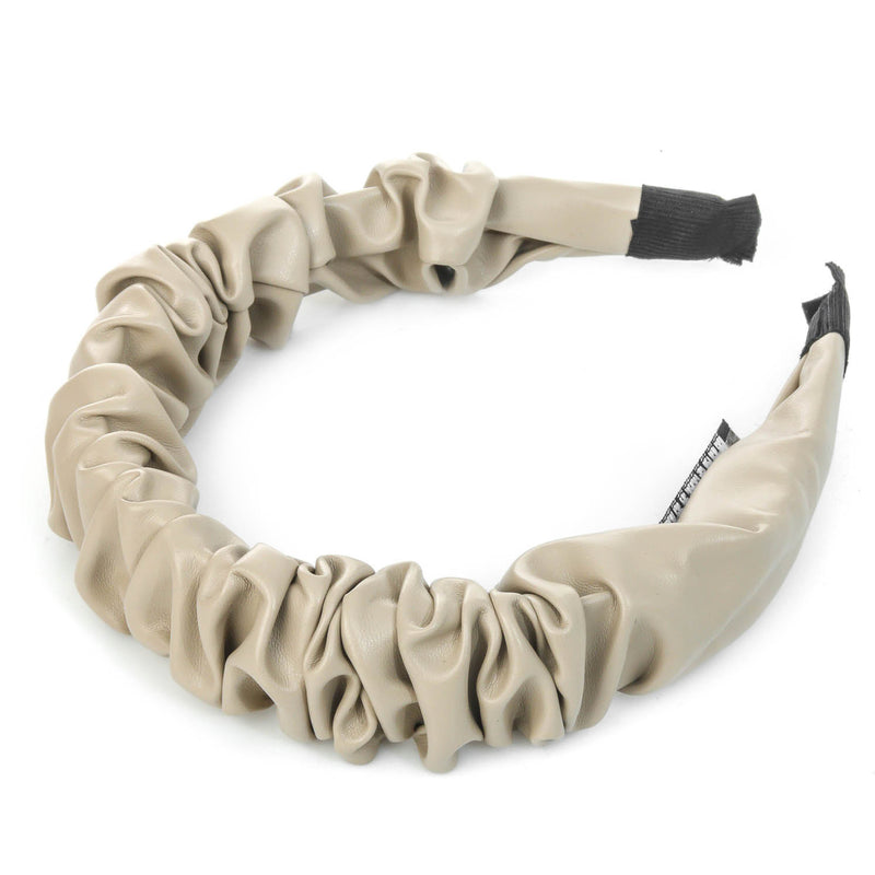 Faux Leather Fashion Headband Ivory