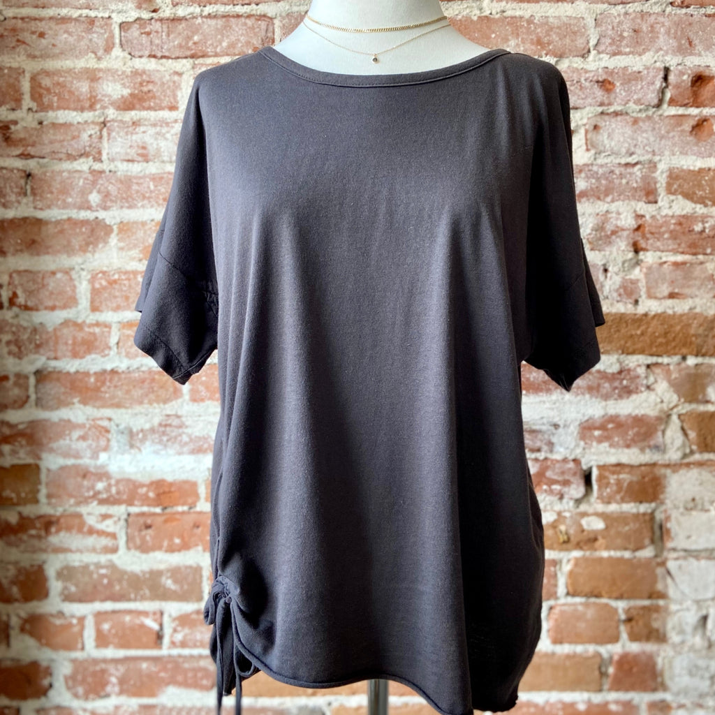 Jersey Relaxed Fit Short Sleeve Tee With Ruched Side Black