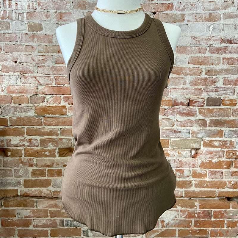 Ribbed Tank Top Taupe