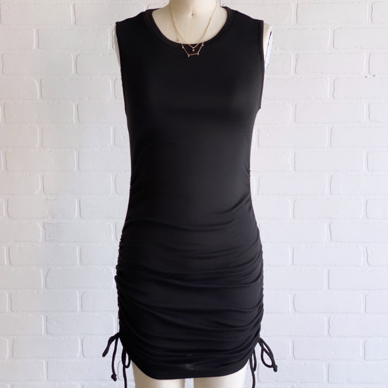 DGI3013 Gabby Rushed Dress Black