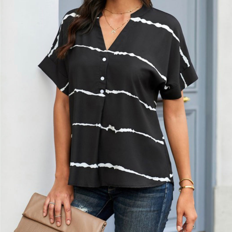 Striped Everyday Short Sleeve Shirt Black