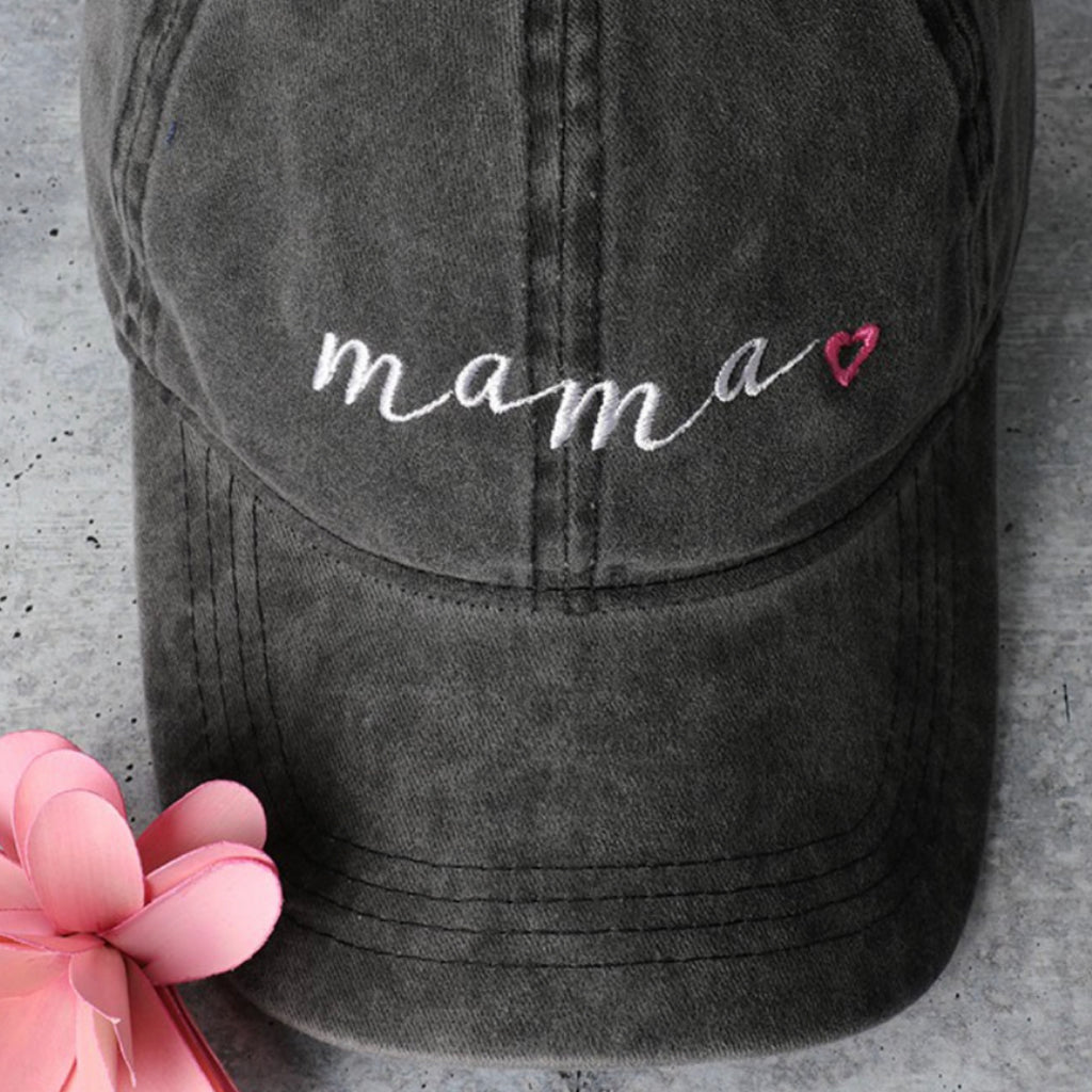 Mama Heart Embroidered Baseball Cap
