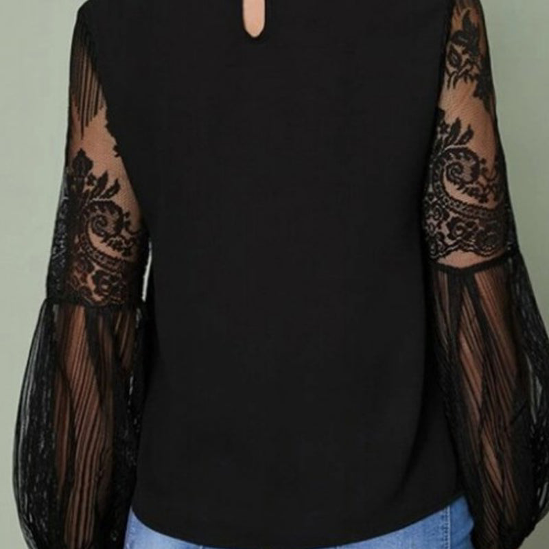 Sweet Lace Splicing Long Sleeve Top Black