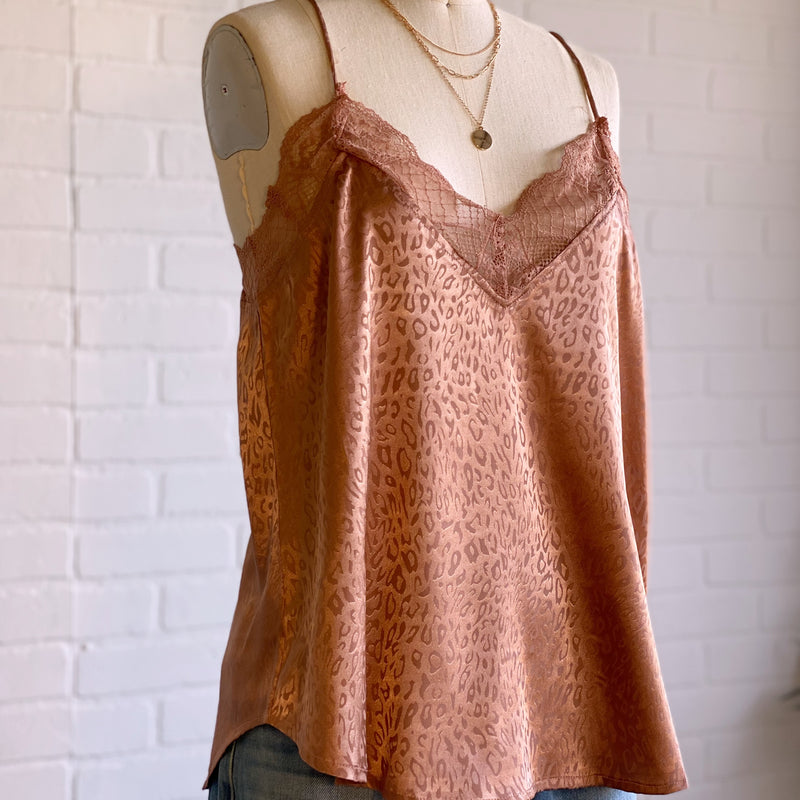 Simply Lace Leopard Print Top Mauve
