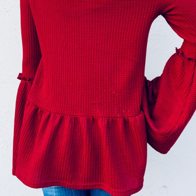 Empire Waist Bell Sleeve With Wood Button Knit Top Burgundy