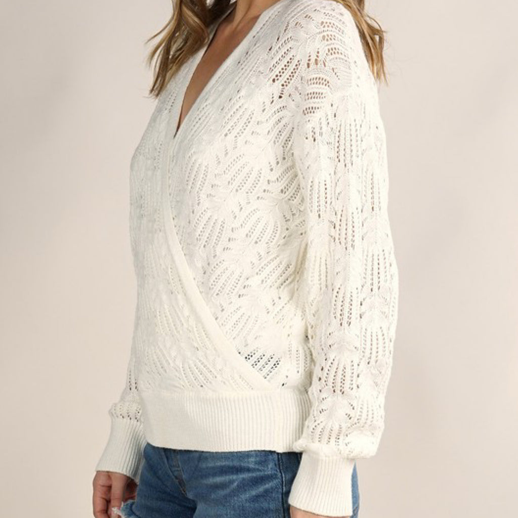 Romantic Pointelle Sweater Off White