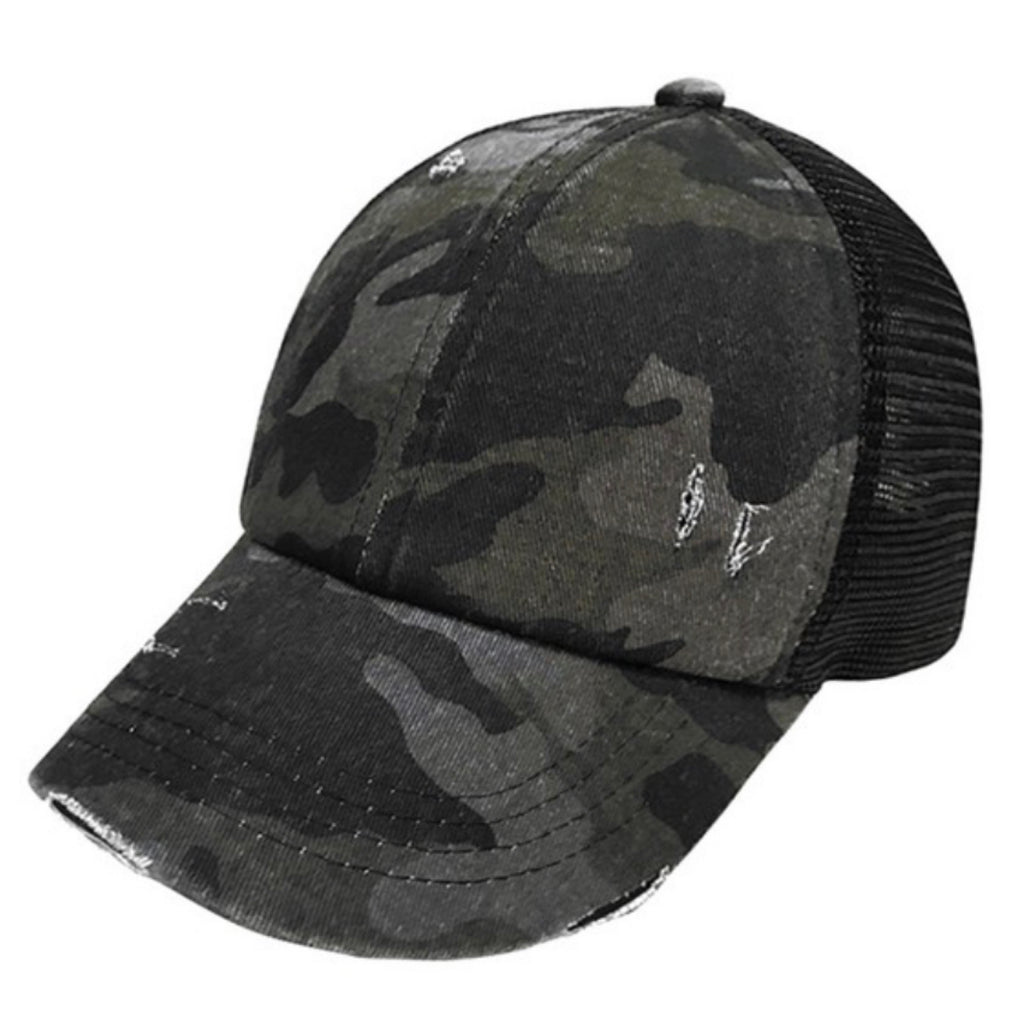 BT-783 C.C Denim Camouflage with Crossed Elastic Band Meshed Pony Cap Black