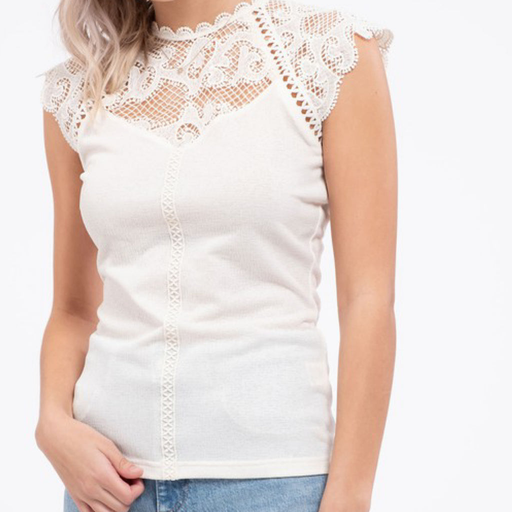 Stephanie Contrast Lace Knit Top Ivory