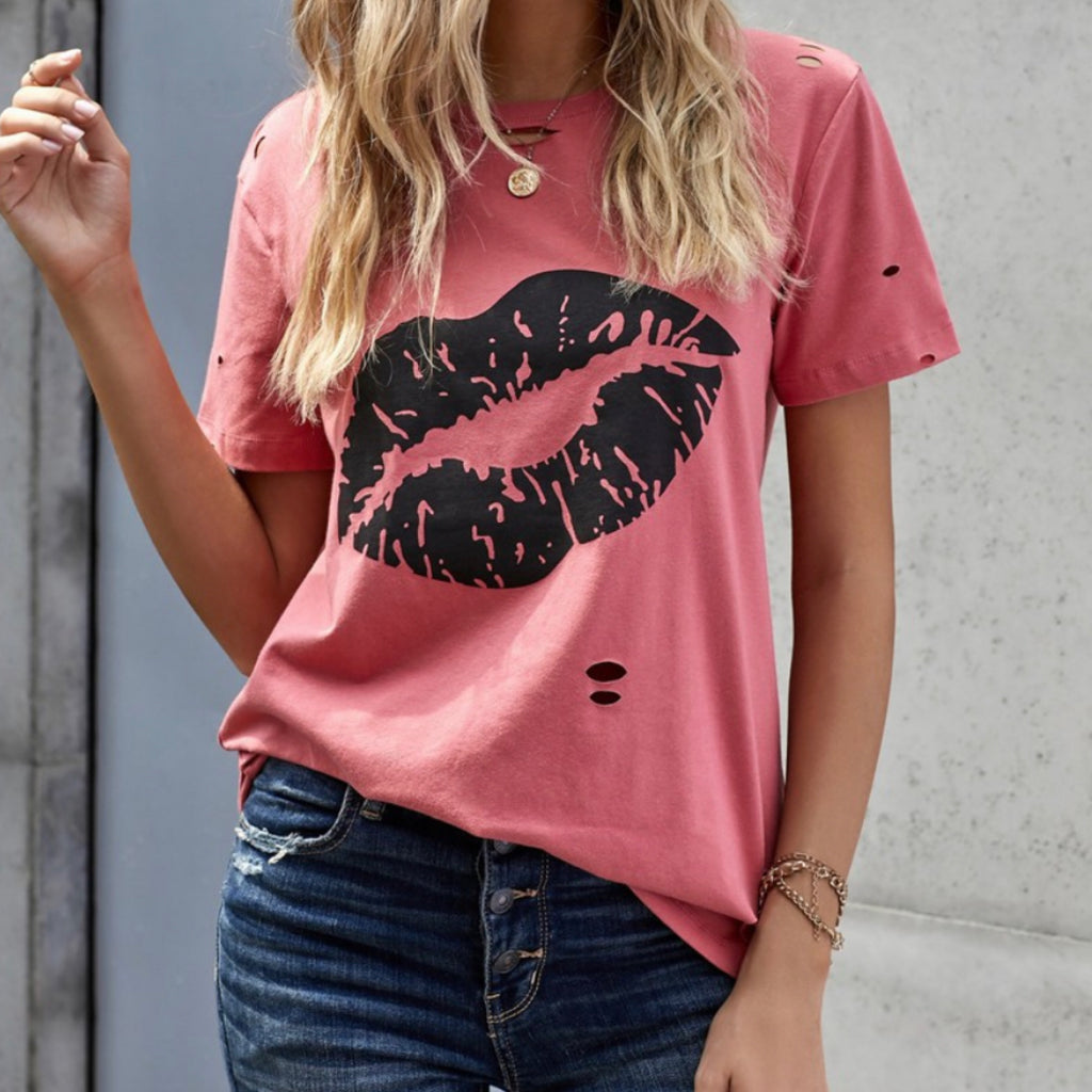 Kiss The Lip Distressed Cotton Tee
