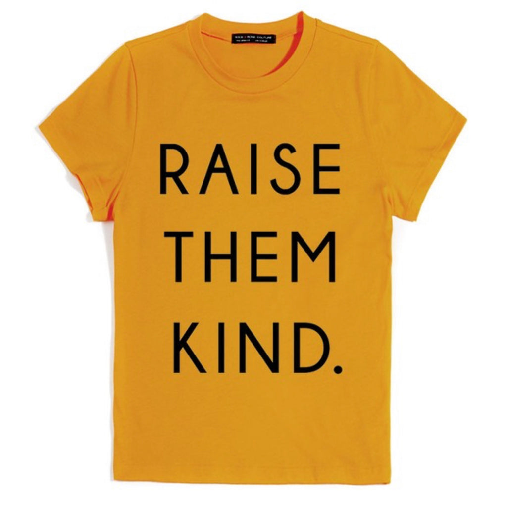 Raise Then Kind Graphic Print Tee Mustard