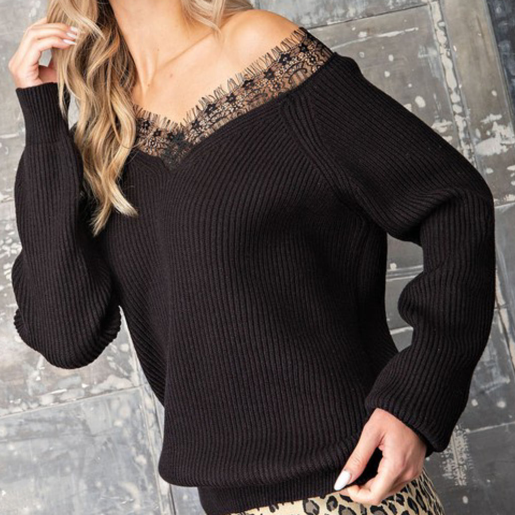 Lace Trim Off The Shoulder Sweater Black