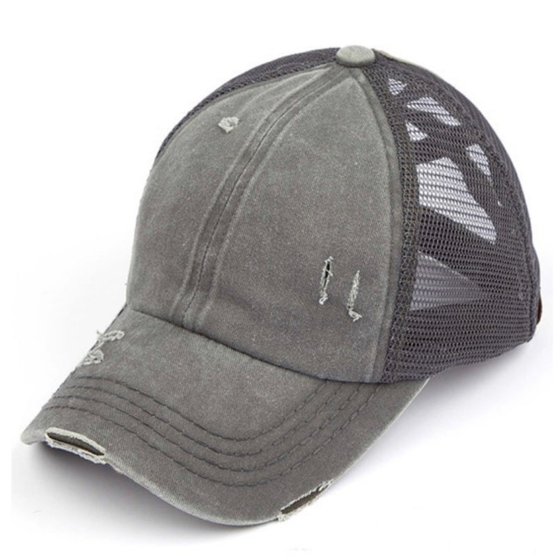 BT-780 C.C Washed Denim with Crossed Elastic Band Mesh Pony Cap Grey