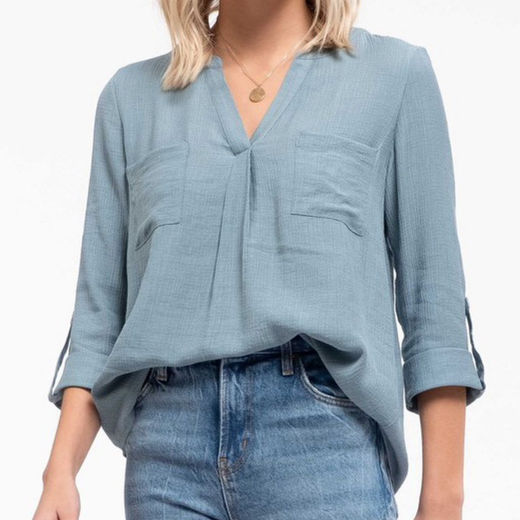Collin V-Neck Roll Up Sleeve Top Blue