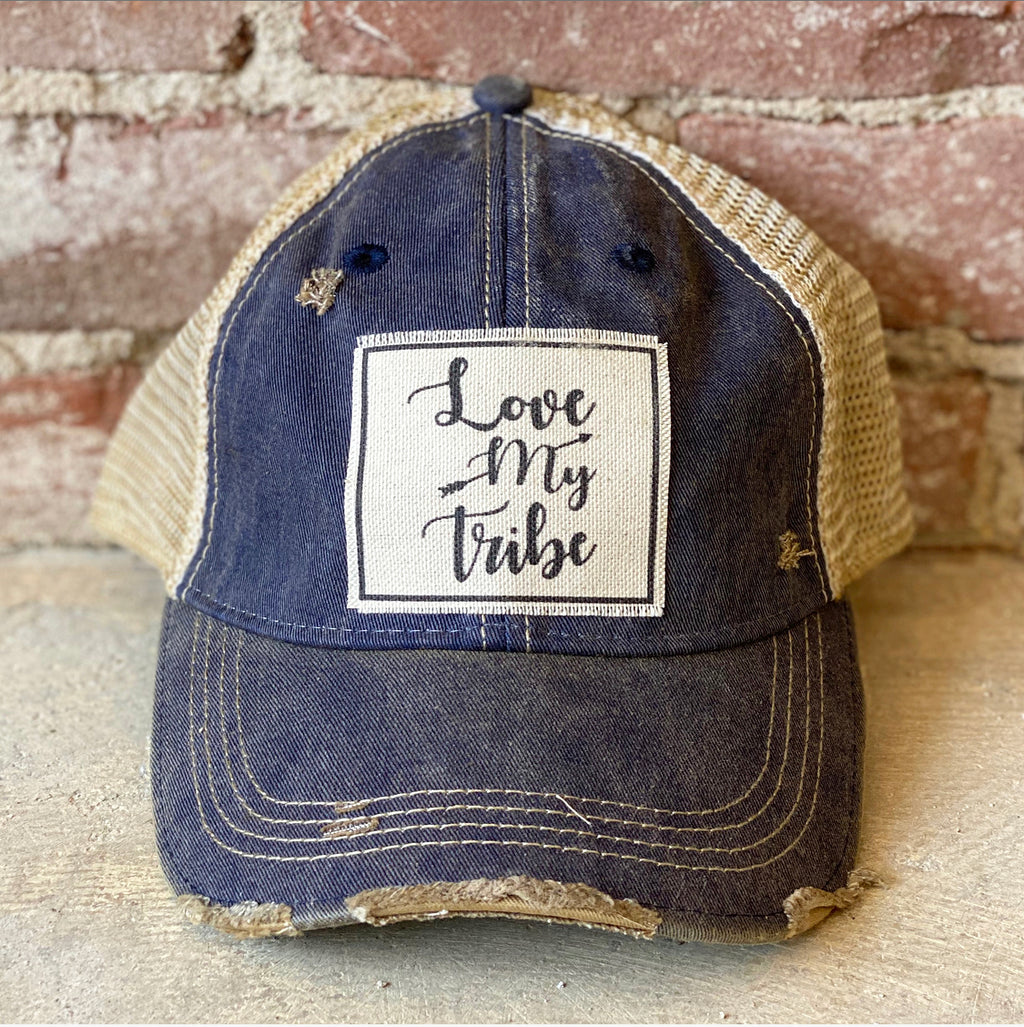 Love My Tribe Distressed Trucker Navy