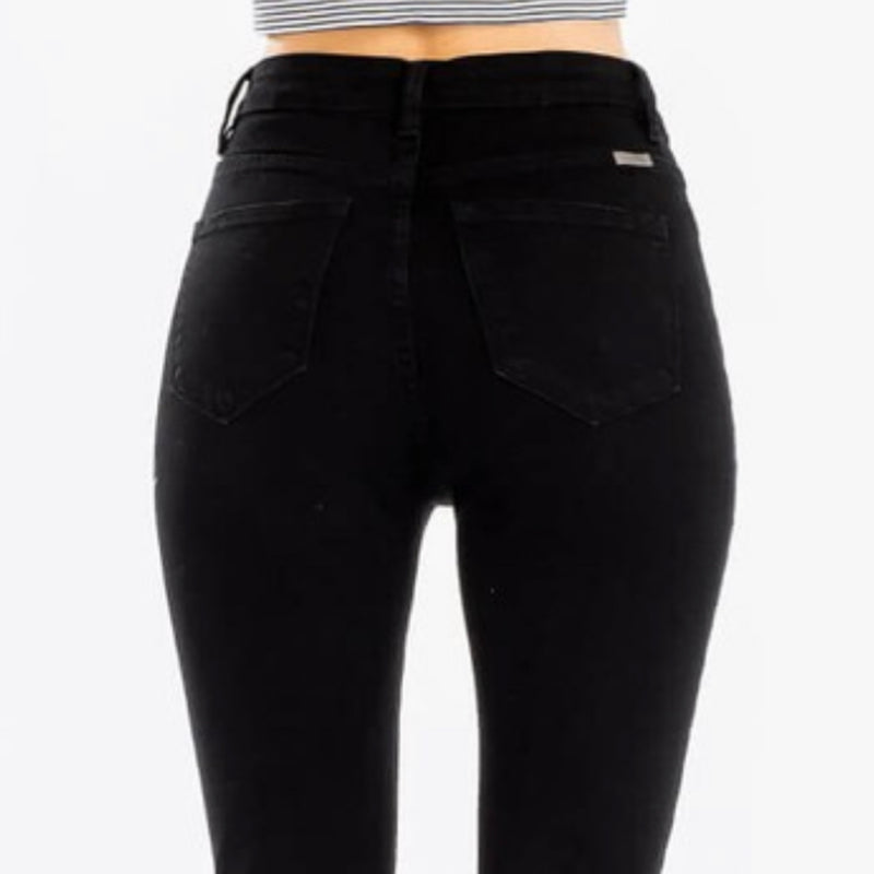 Kancan High Rise Button Fly Classic Skinny Black