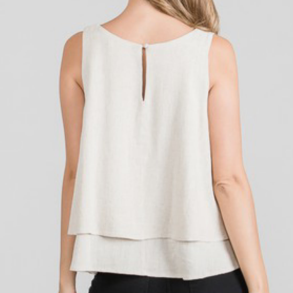 Eleanor Tiered Linen Woven Top Natural