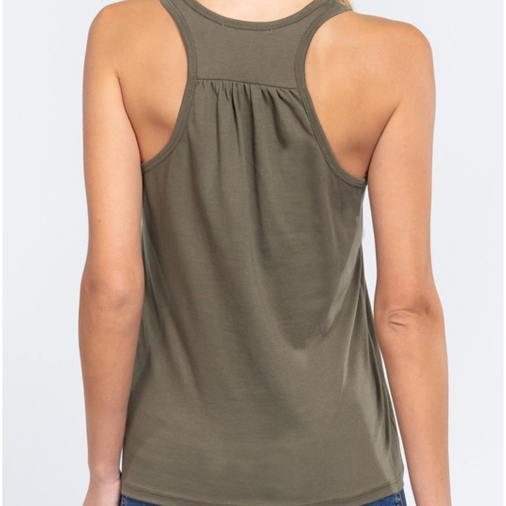 Simply Racer Back Top Olive