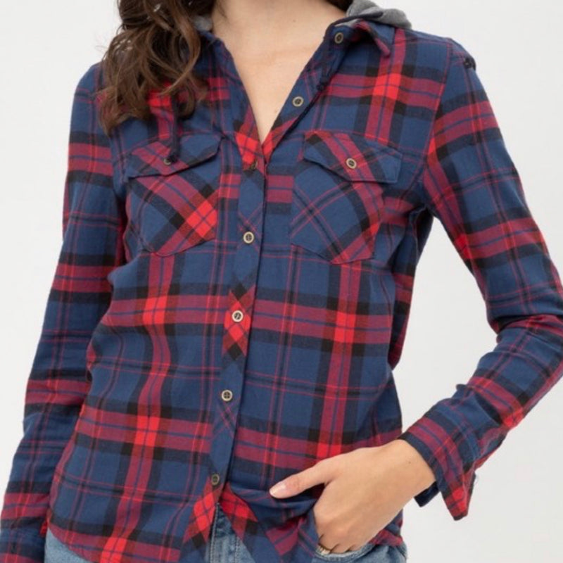 Plaid Button Down Flannel With Hood Navy