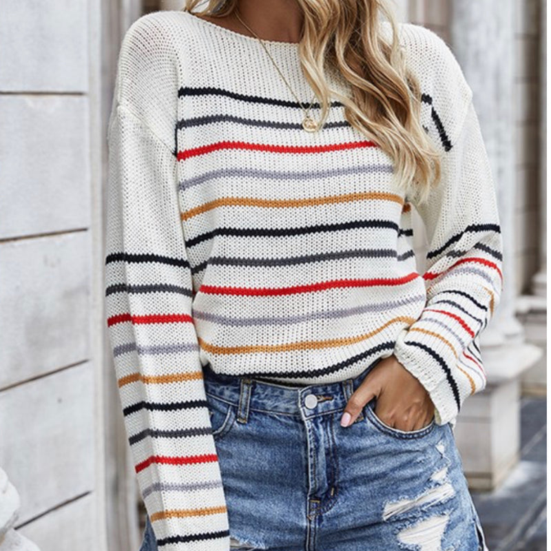 Giselle Stripe Knit Sweater White