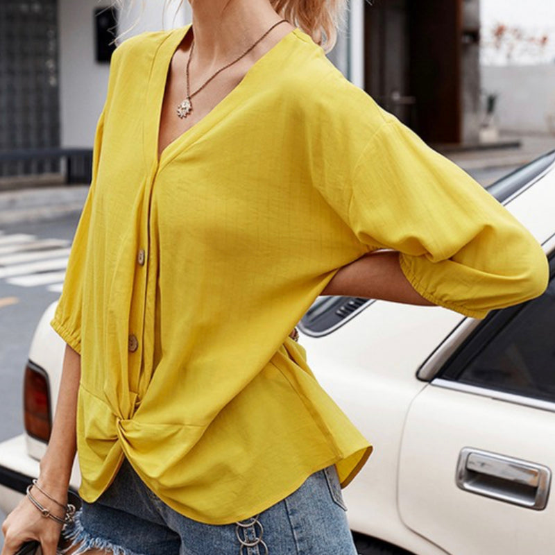 48319TDY Everyday Three Quarter Sleeves Blouse