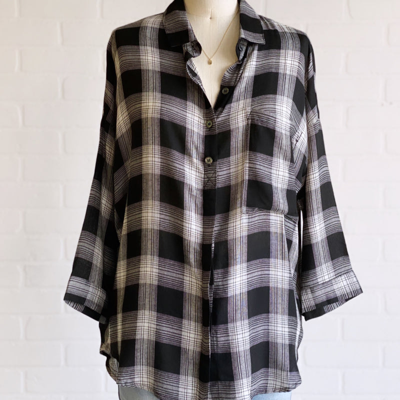 Dallas 3/4 Sleeve Rayon Plaid Shirt Black/White