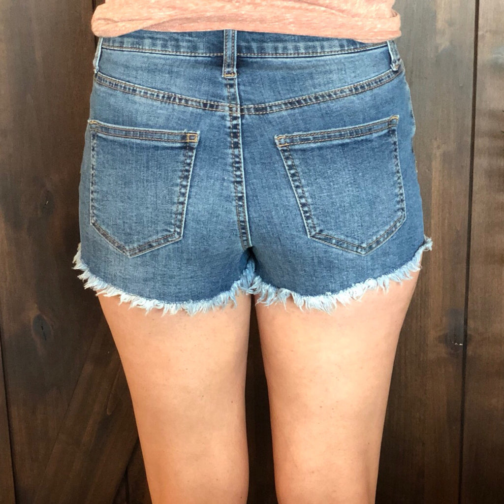 CJ31034TY BUTTON FRONT DENIM SHORTS