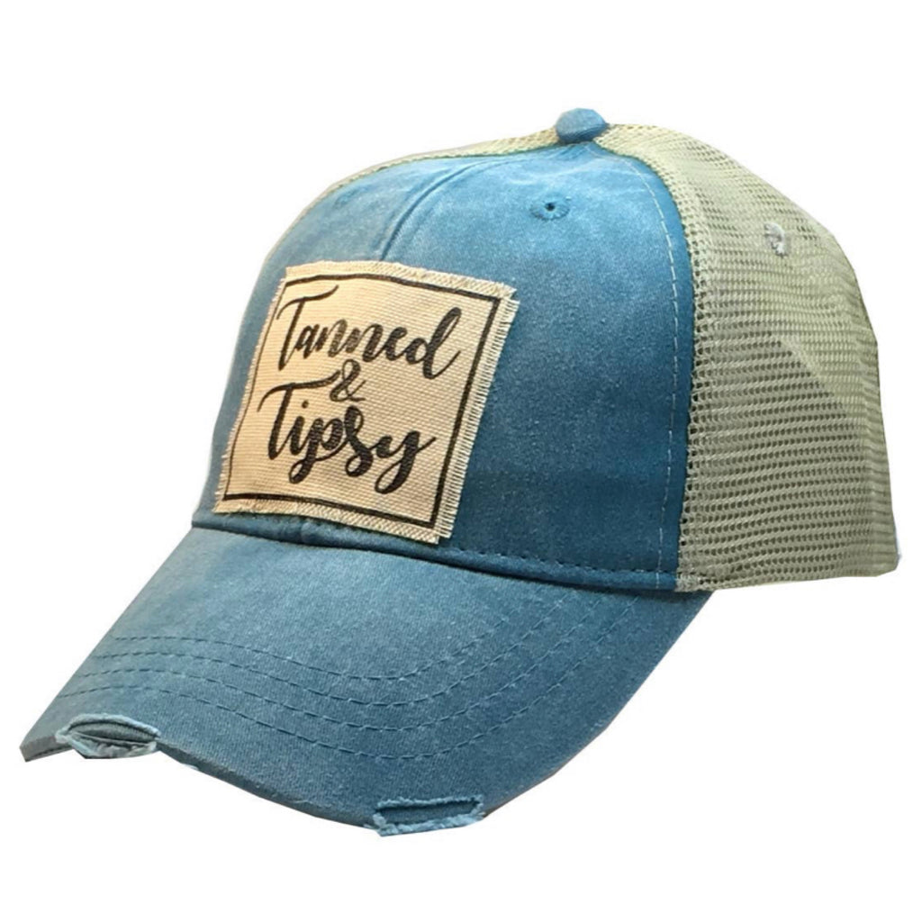PREORDER AVAILABLE 8/10 Tanned & Tipsy Distressed Trucker Cap