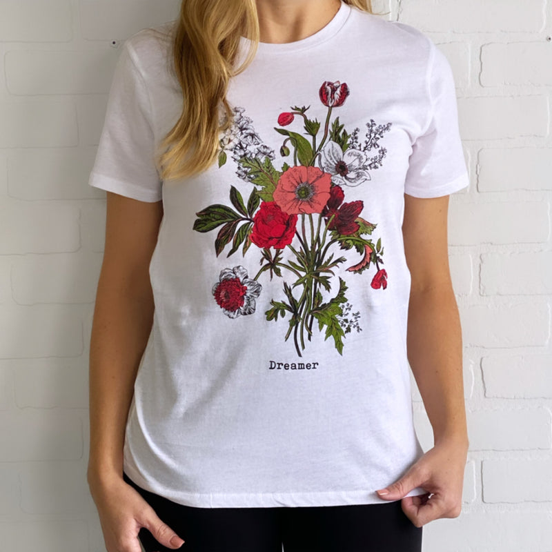 H2283TK Floral Bouquet Dreamer Graphic Tee